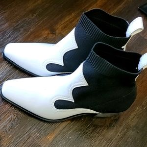 Zara white and black leather fabric western bootie